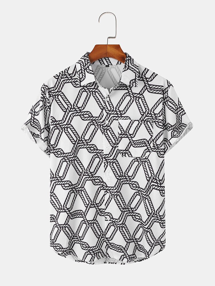 Mens Cable Rope Geometry Print White Short Sleeve Shirt