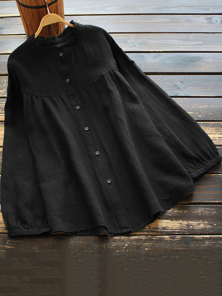 Solid Long Sleeve Button O-neck Women Loose Vintage Blouse
