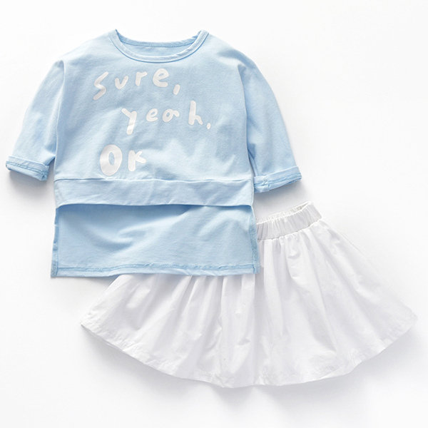 2pcs Girls Clothing Sets T-shirt + Skirt Tracksuit For 1Y-9Y