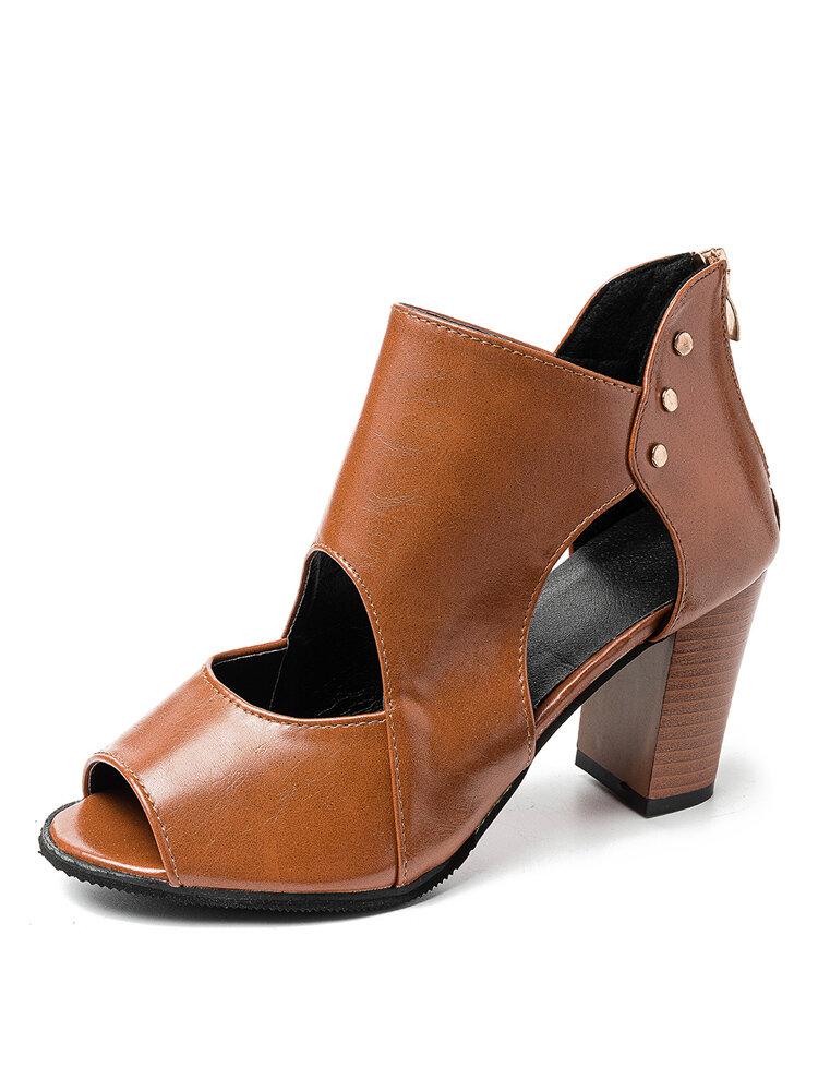 Women Lady Peep Toe Hollow Zipper High Chunky Heel Sandals
