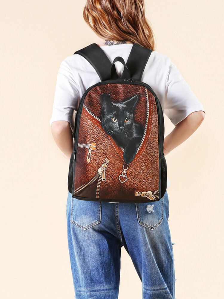 Women Oxford Patchwork Large Capacity Cat Striped Pattern Printing Backpack