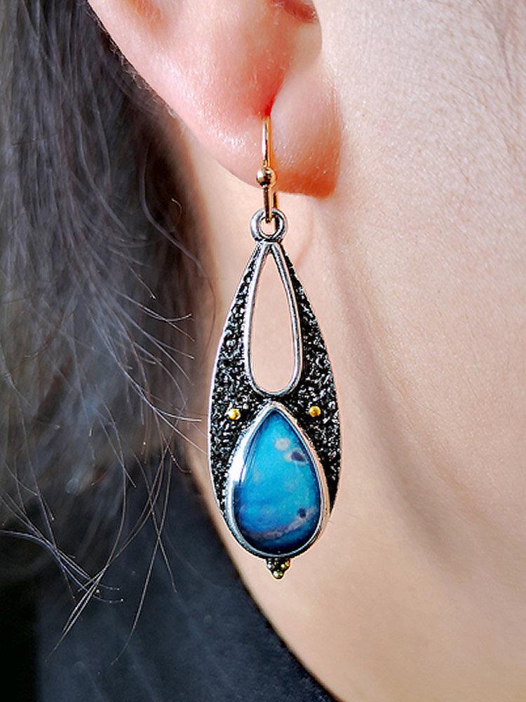 Vintage Turquoise Earring Geometric Hollow Epoxy Water Drop Women Pendant Earrings