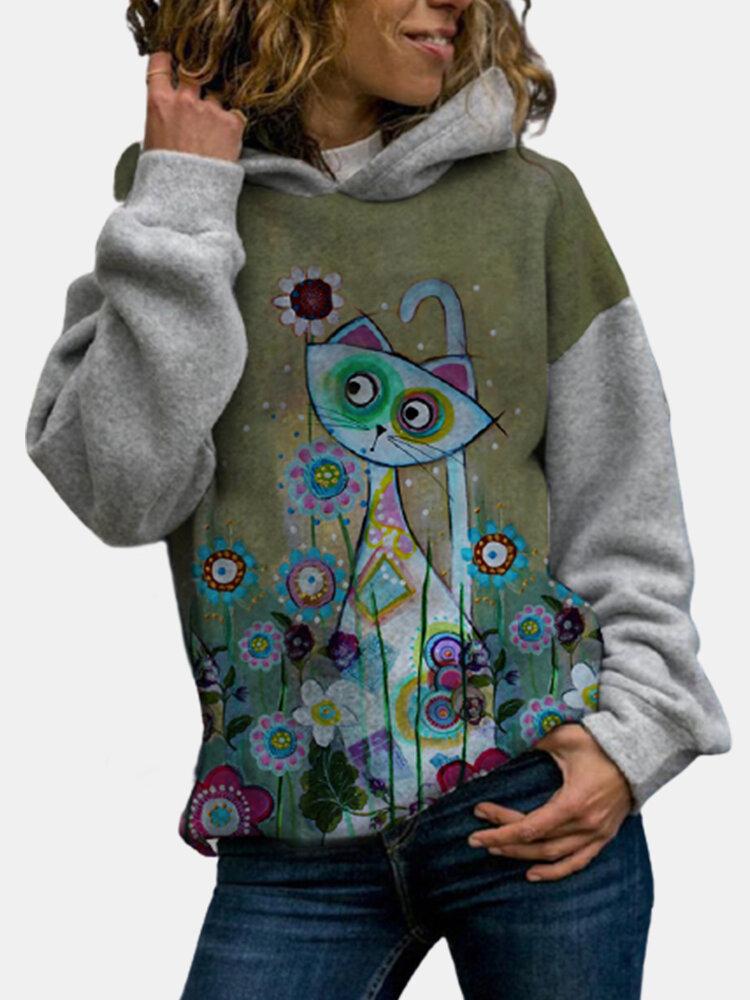 Cute Cat Print Long Sleeves Patchwork Casual Hoodies For Women