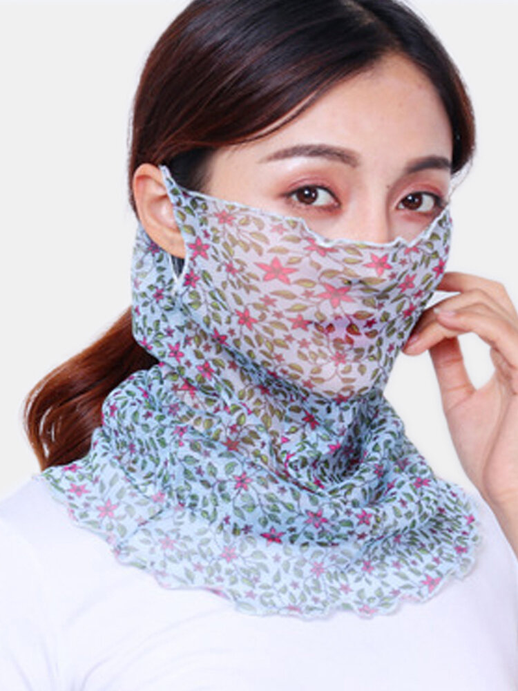 Women Breathable Thin Face Mask Open Riding Veil Shade Sunscreen Triangle Silk Scarf Neck Mask