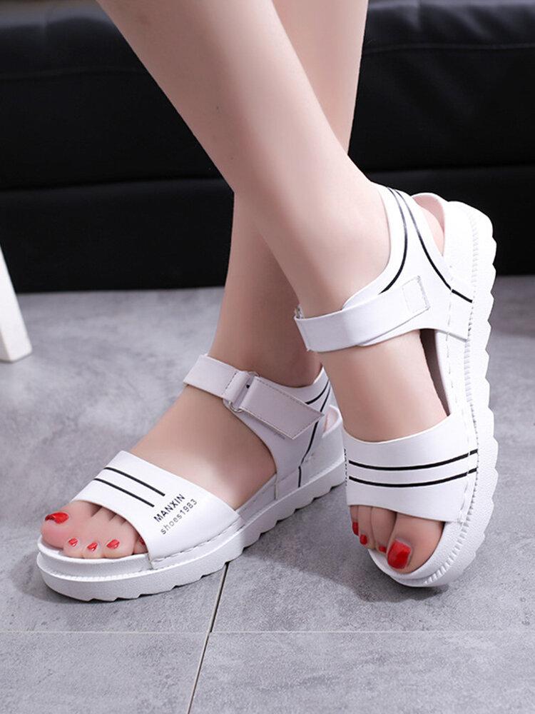 Women Sports Solid Color Lightweight Casaul Platform Flat Sandals