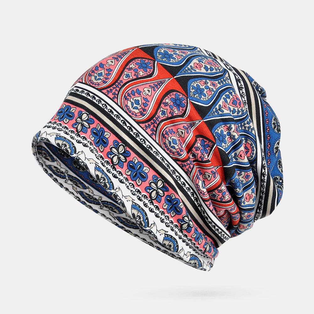 Women Printing Ethnic Beanie Vintage Hat Good Elastic Breathable Turban Caps