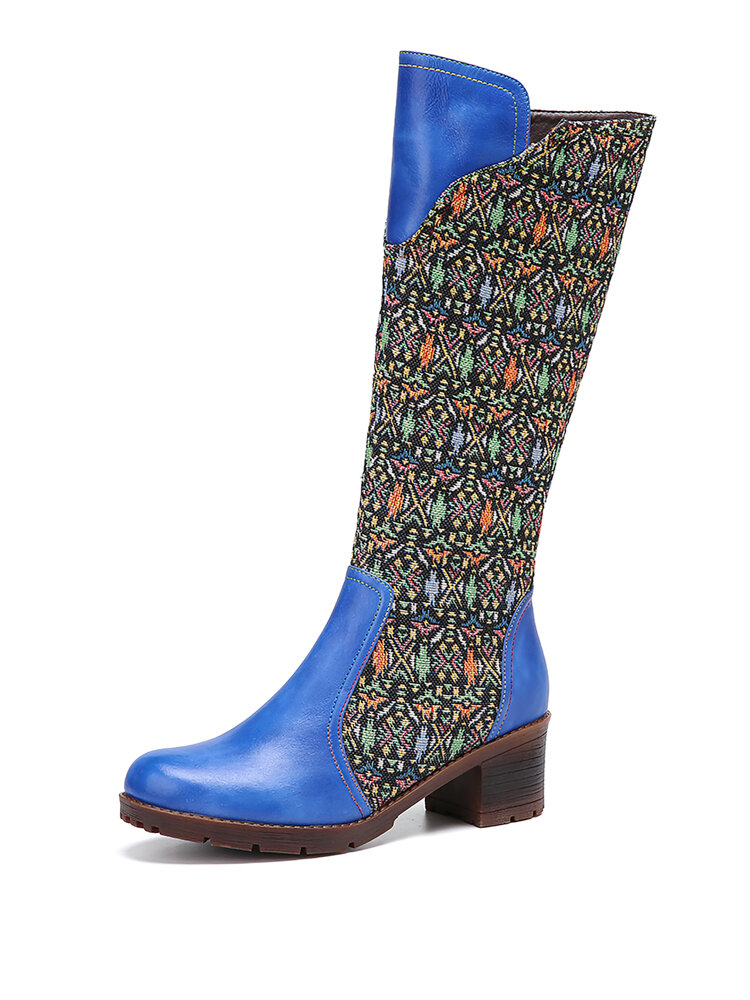 SOCOFY Embroidery Splicing Leather Comfy Warm Lining Slip Resistant Mid-calf Boots