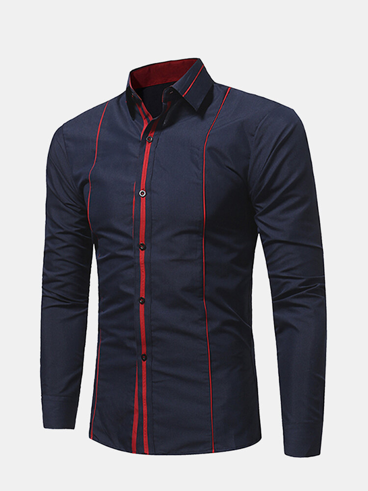 Stylish Bright Line Patchwork Casual Business Solid Slim Fit Work Shirt for Men