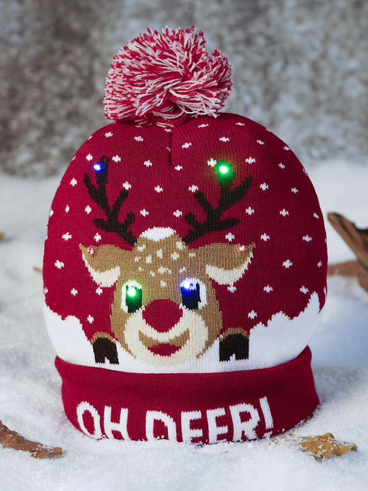 Christmas Snowman Elk Christmas Tree Cuffed Ball Knit Hat