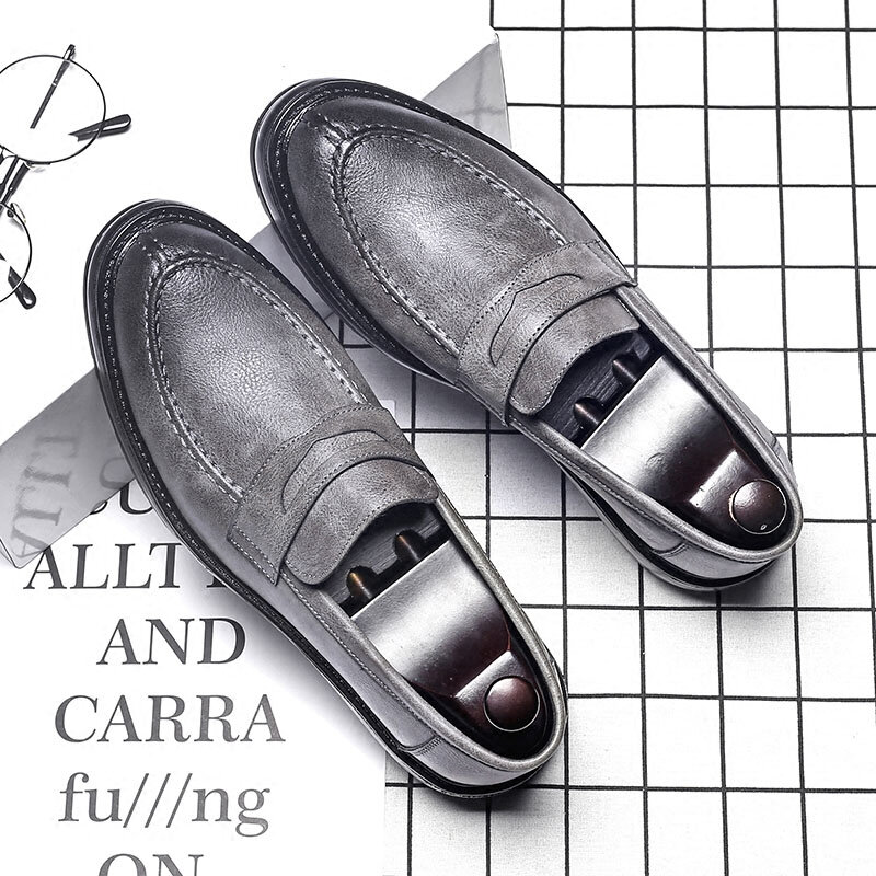 Men British Style Low Top Comfy Slip On Leather Loafers