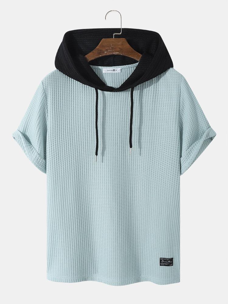 Mens Knitted Drawstring Hooded Short Sleeve Texture T-Shirt