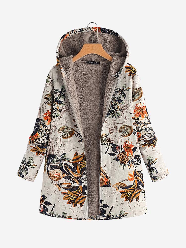 Cappotto con cappuccio in cotone stampa floreale