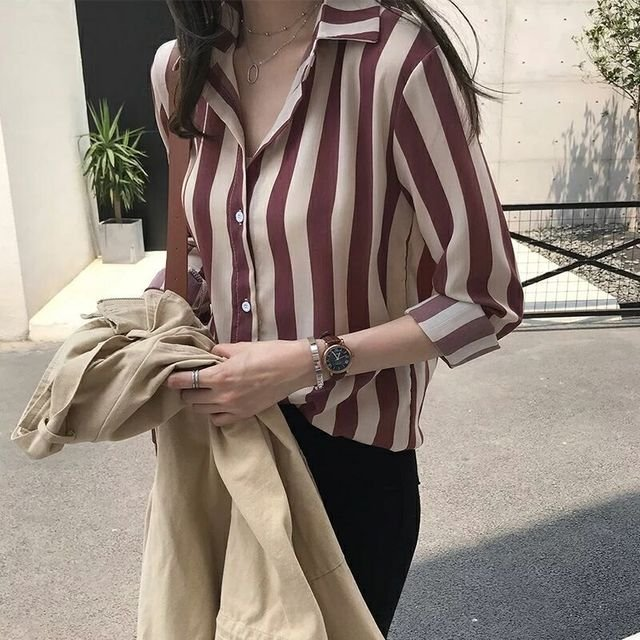 Installed New Loose Thin Shirt Striped Female Long Sleeve Retro Port Wind Chic Shirt Bottoming