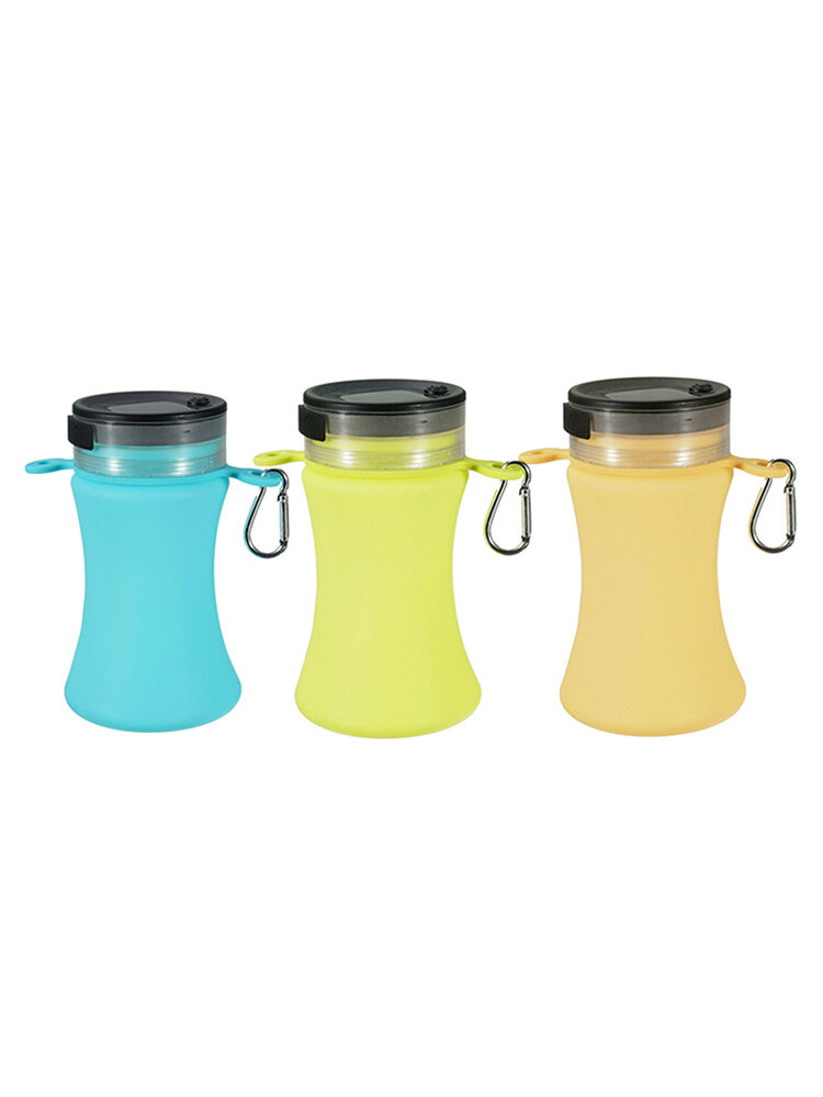 BPA Free Collapsible Silicone Waterproof Sports Water Bottle Bag Clip Foldable LED Light Cup