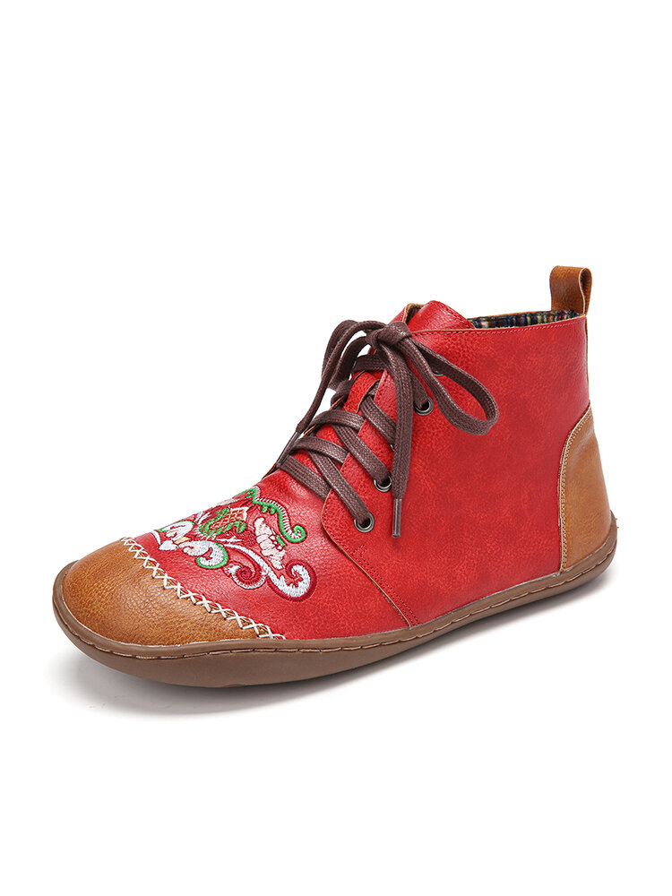 LOSTISY Women Soft Tribal Embroidered Splicing Leather Hand Stitching Ankle Boots