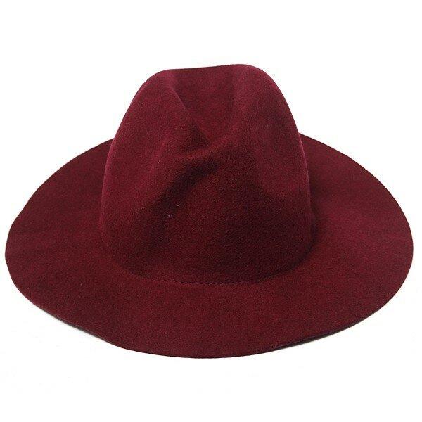 Vintage Women Wool Bowler Trilby Cap Wide Brim Ribbon Fedora Jazz Hat