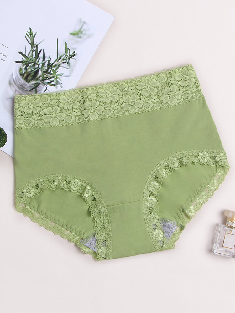 Women Plus Size Cotton High Waisted Panty Lace Trim Full Hip Soft Breathable Comfy Underwear Bottom