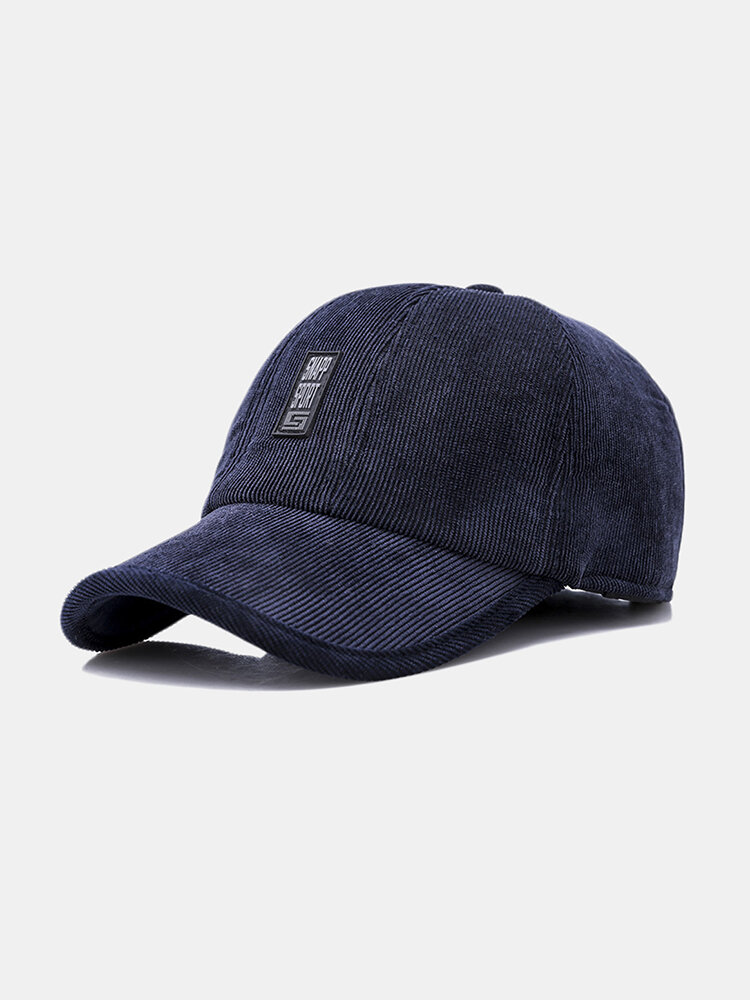 Men's Casual Corduroy Baseball Cap Outdoor Ear Protection Padded Warm Tongue Hat