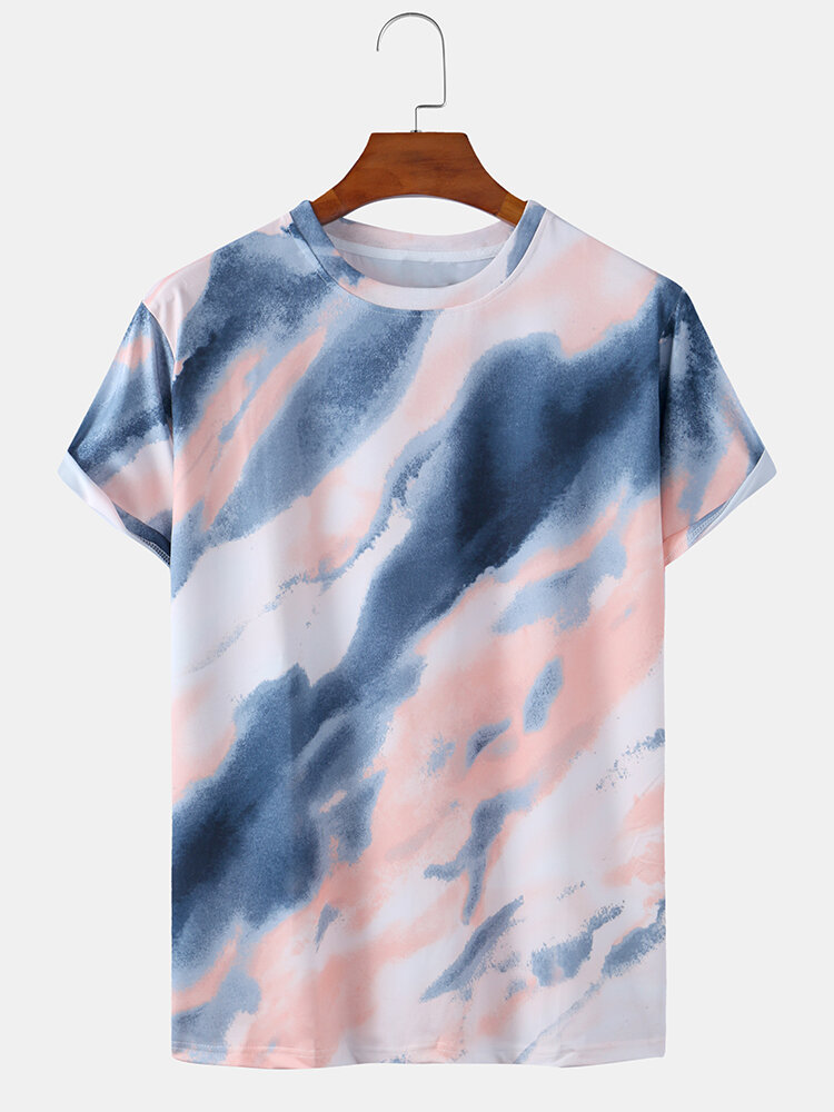 Mens Tie Dye Print Casual Breathable & Thin O-Neck T-Shirts