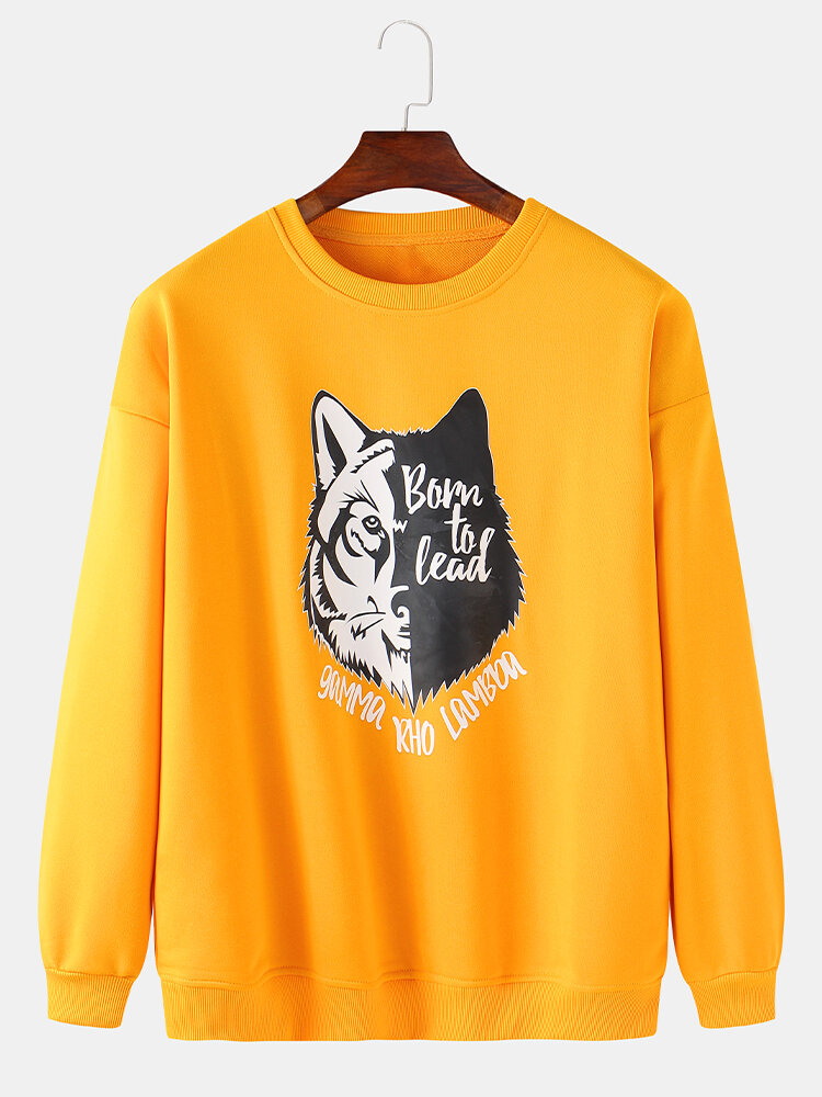Mens Cartoon Wolf Chest Print Solid Daily Loose Fit Pullover Sweatshirts