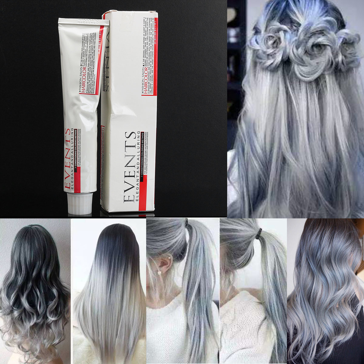 Light Grey Hair Dye Color Cream Fashion Styling DIY para homens Mulheres