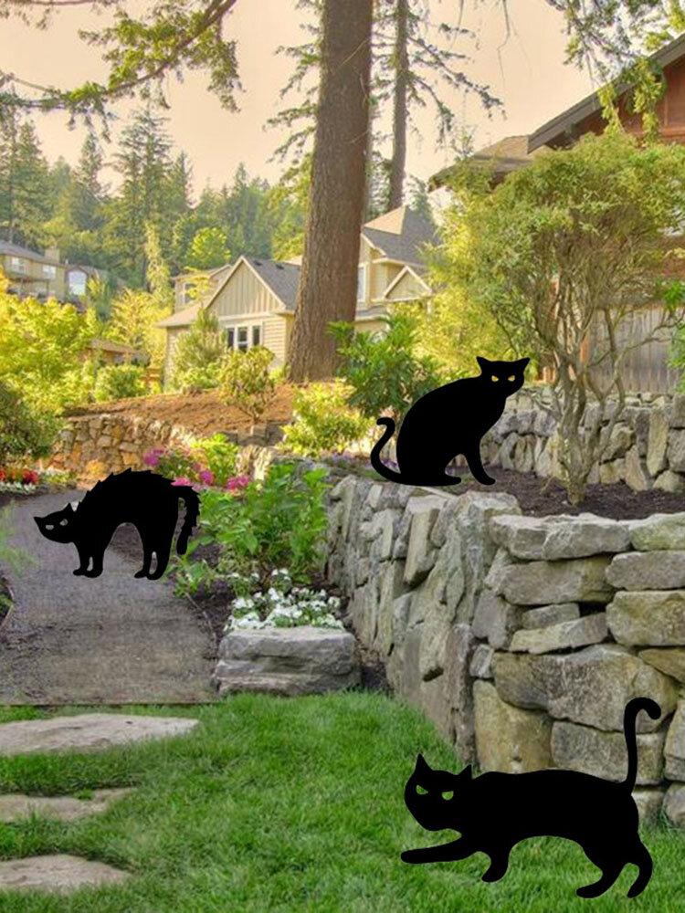 1PCアクリルBlack猫の形の庭屋外装飾芝生柵挿入カード