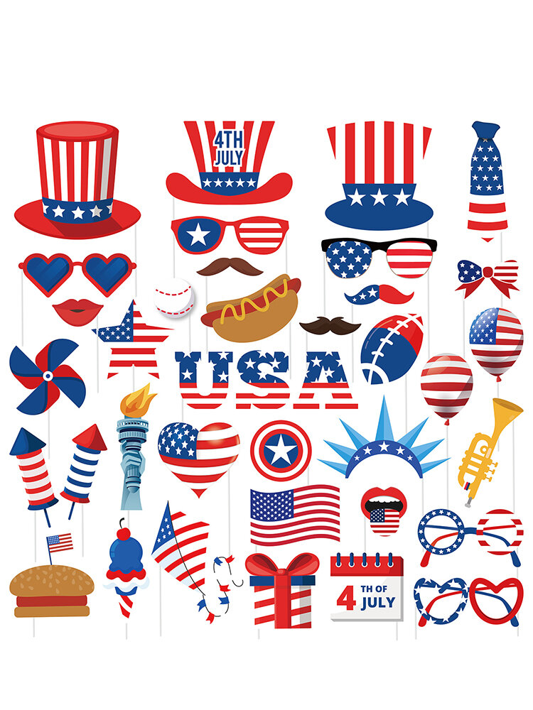 July 4th American Independence Day 38 Pieces Home Party Decoration Photo Prop Funny Beard Sunglasses Glue Paper Props