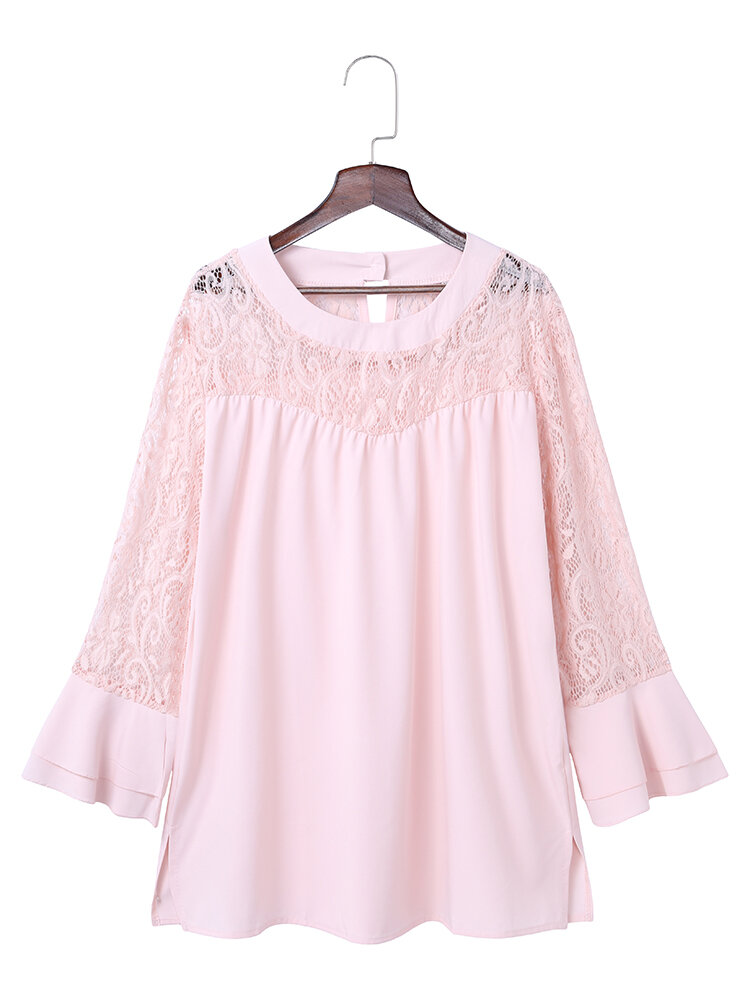 Casual Lace Patchwork Hollow Horn Sleeve Blouses For Women