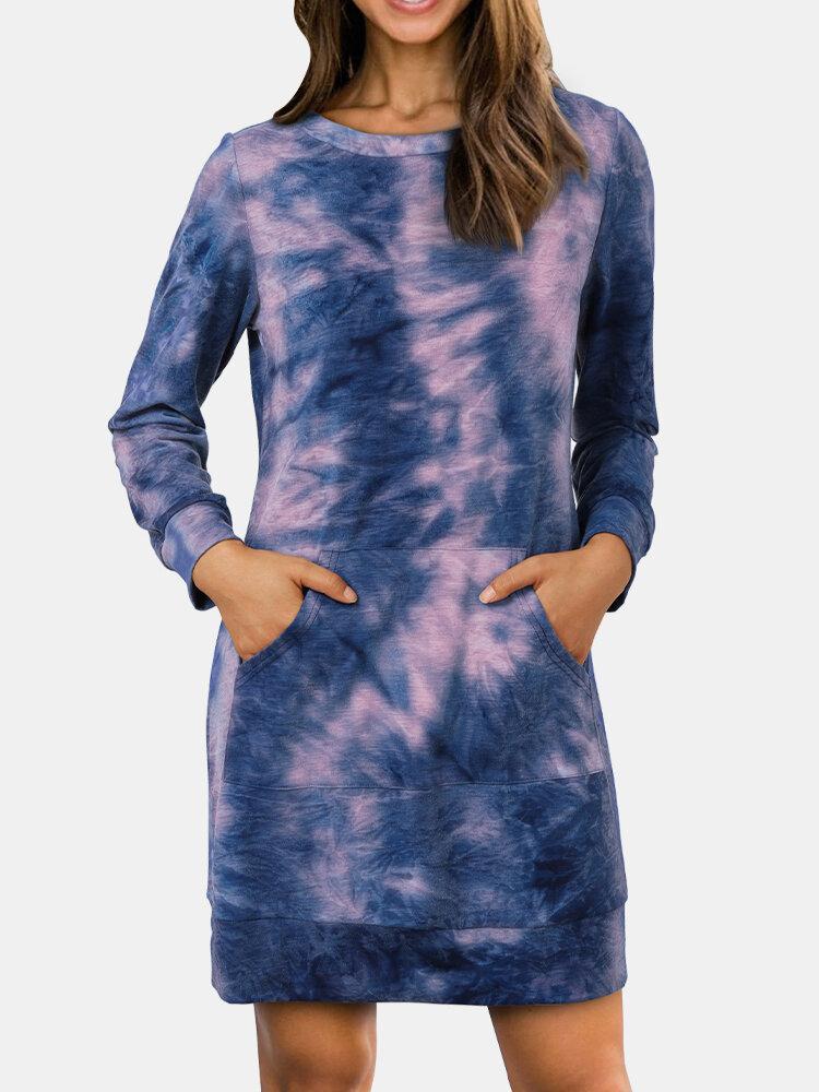 Krawattengefärbte Drucktasche Langarm Casual Sweatshirt Kleid für Damen