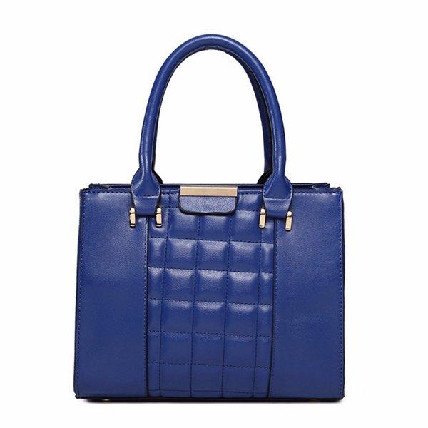 New Simple Plaid Geometric Figure PU Leather Handbag