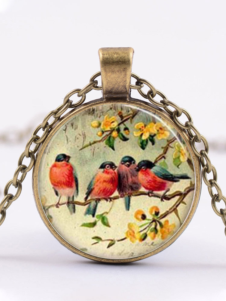 Alloy Glass Vintage Birds Floral Pattern Printed Necklace Pendant