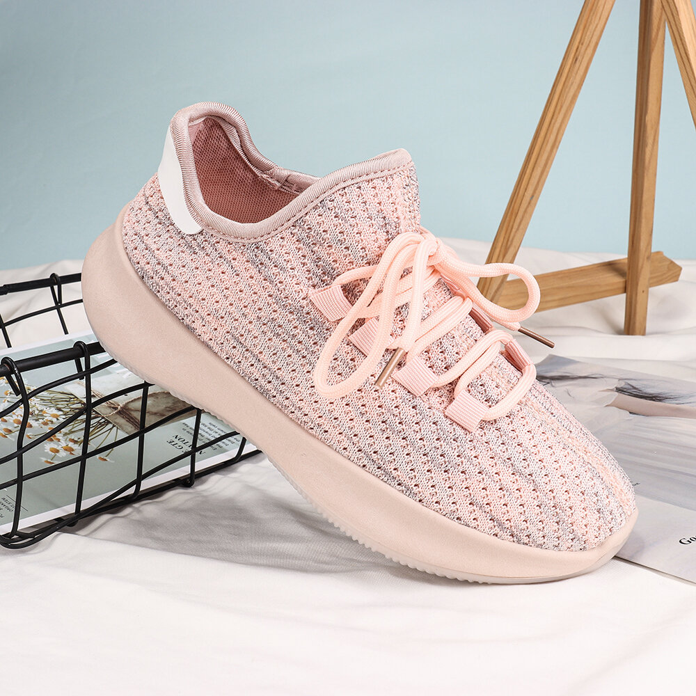 Women Breathable Soft Mesh Lace Up Non Slip Casual Flat Shoes