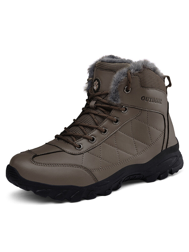 Men Microfiber Leather Waterproof Slip Resistant Warm Lined Outdoor Hiking Boots
