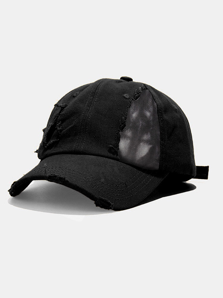 Unisex Cotton Solid Color Tie-dye Print Patchwork Ripped All-match Sunscreen Baseball Cap