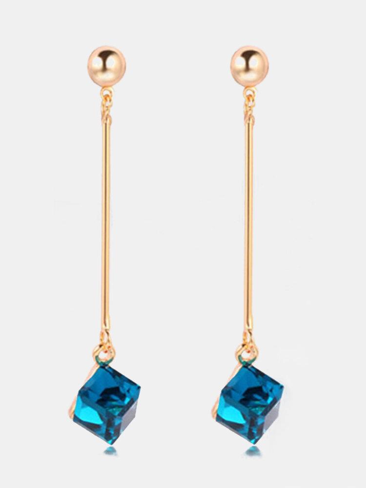 Elegant Ear Drop Earrings Bar Shaped Quare Water Cube Crystal Pendant Earrings Jewelry for Women
