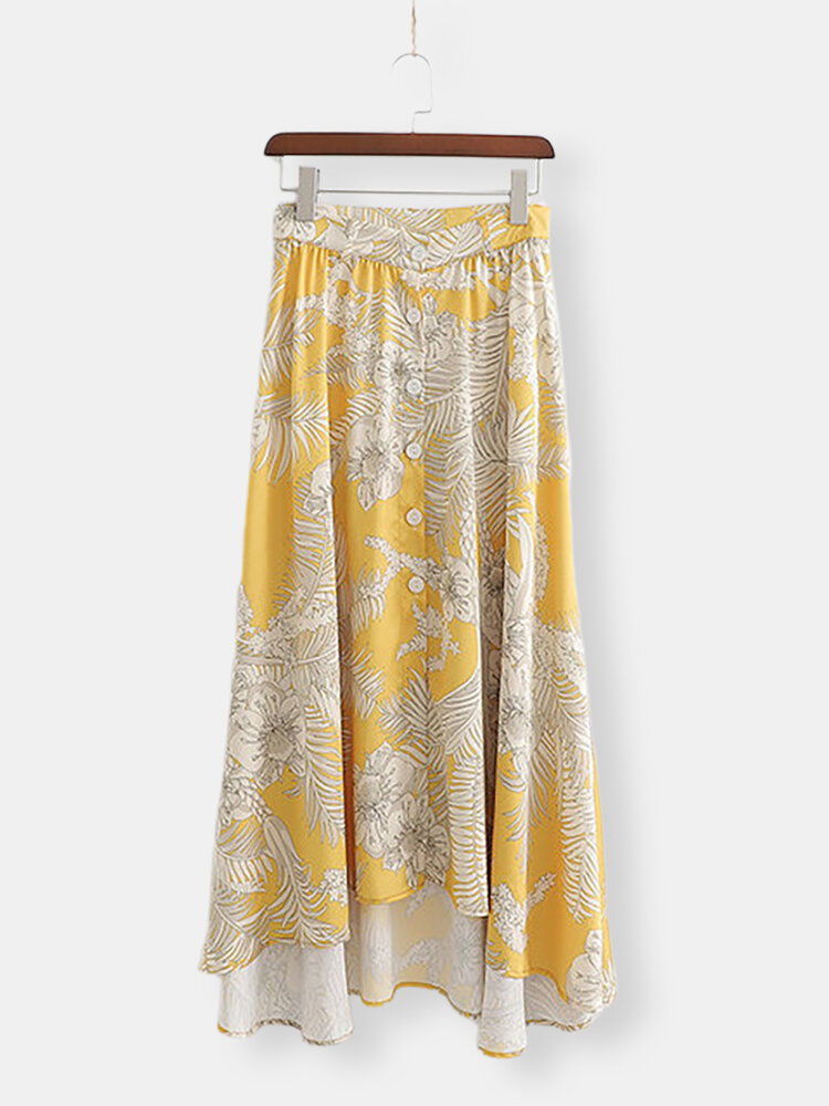 Retro Style Personality Positioning Flower Print Buckled Skirt Skirt A8us2200