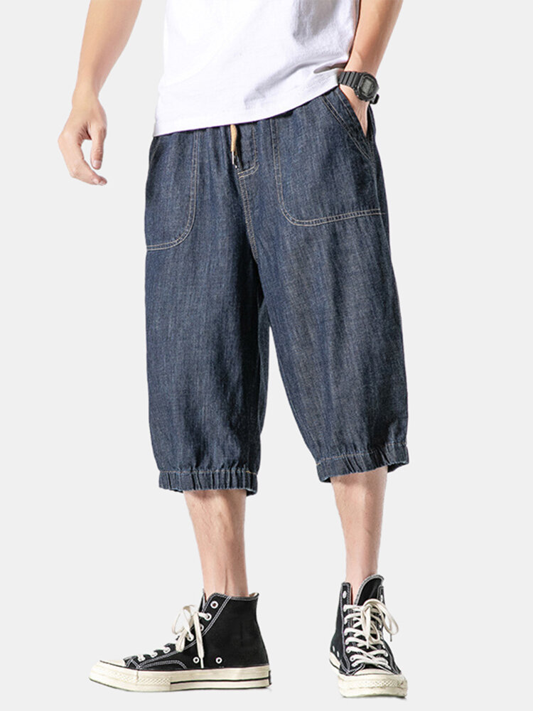 Mens Overalls Cropped Pockets Loose Casual Drawstring Jean Cargo Pants