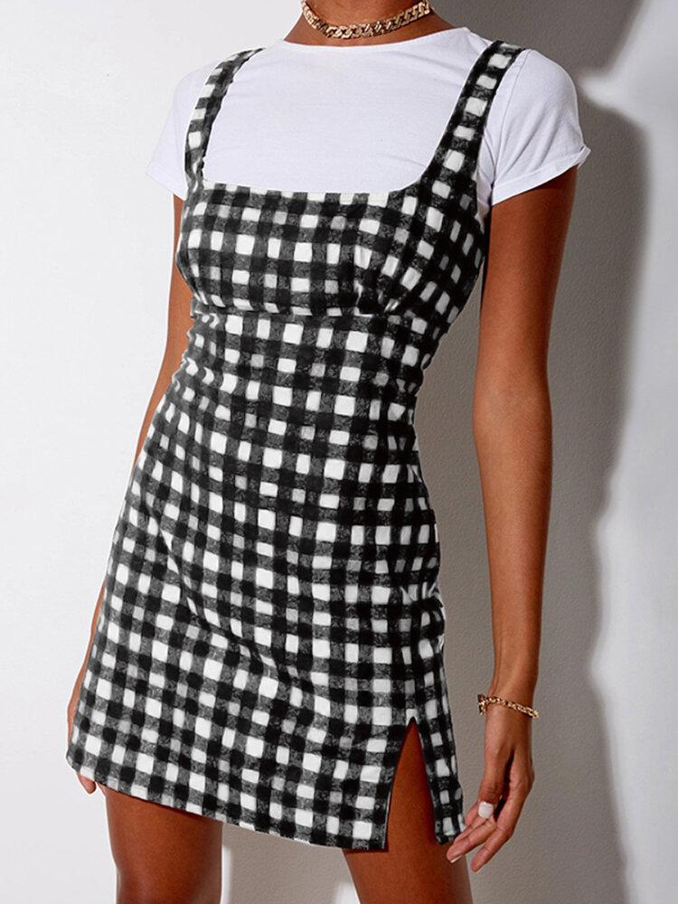 Plaid Print Straps Zip Front Plus Size Short Dress