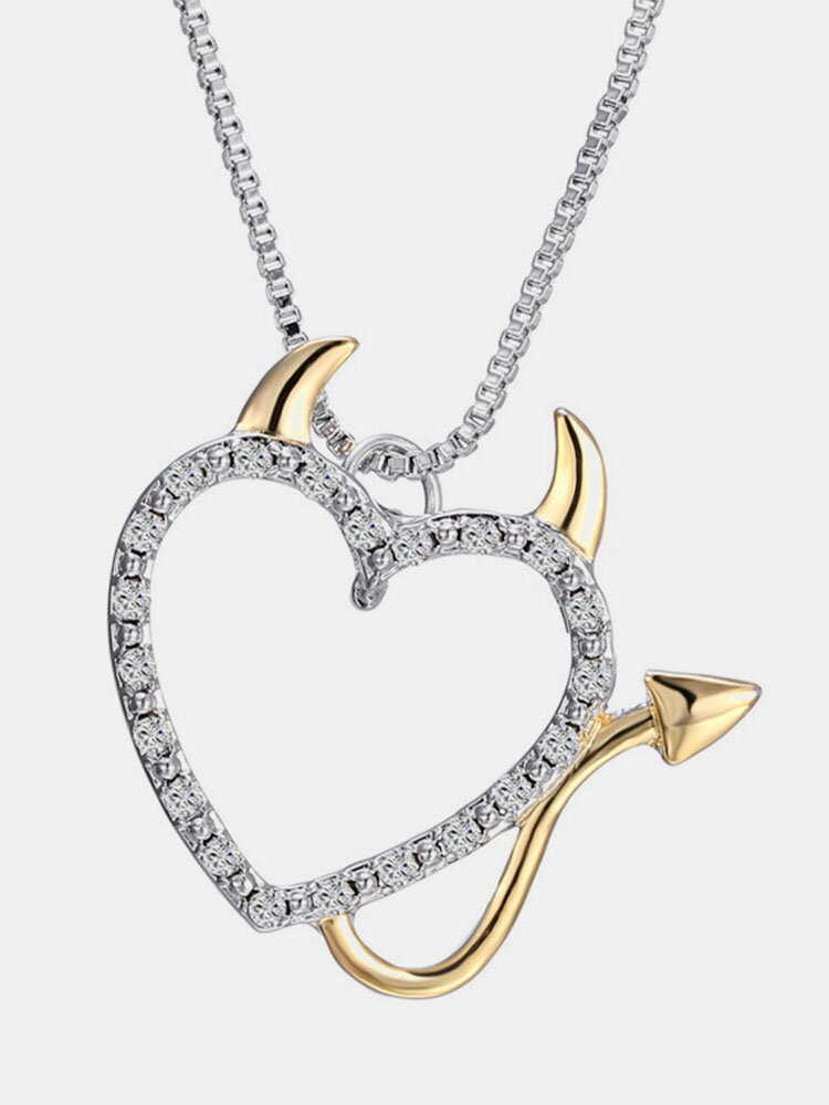 Trendy Heart Necklace Gold Devil Love Crystal Rhinestones Charm Necklace Jewelry for Women