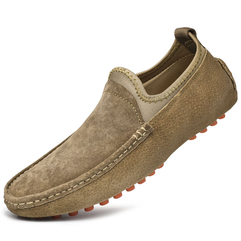 Men Genuine Leather Soft Sole Slip Resistant Casual Slip On Driving Shoes