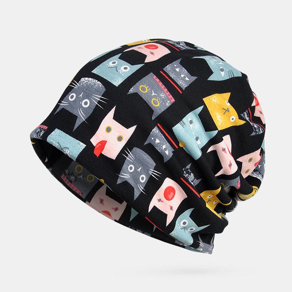 Women Vintage Cat Pattern Ethnic Cotton Beanie Hat Good Elastic Breathable Summer Turban Caps