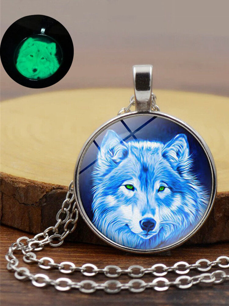 Vintage Glass Printed Women Necklace Luminous Wolf Head Pendant Sweater Chain Jewelry
