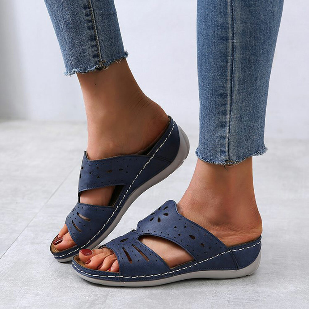 Women Hollow Comfy Non Slip Casual Slip On Wedges Slippers