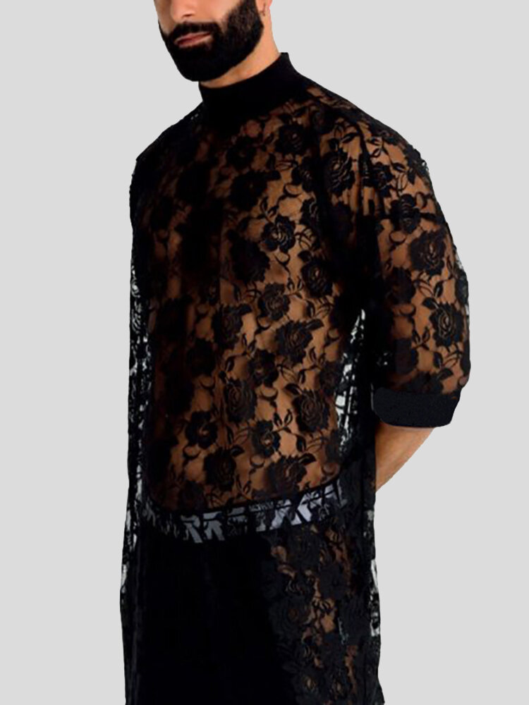 Mens Rose Lace Transparent Flower Pattern Thin Sexy Plain Robs