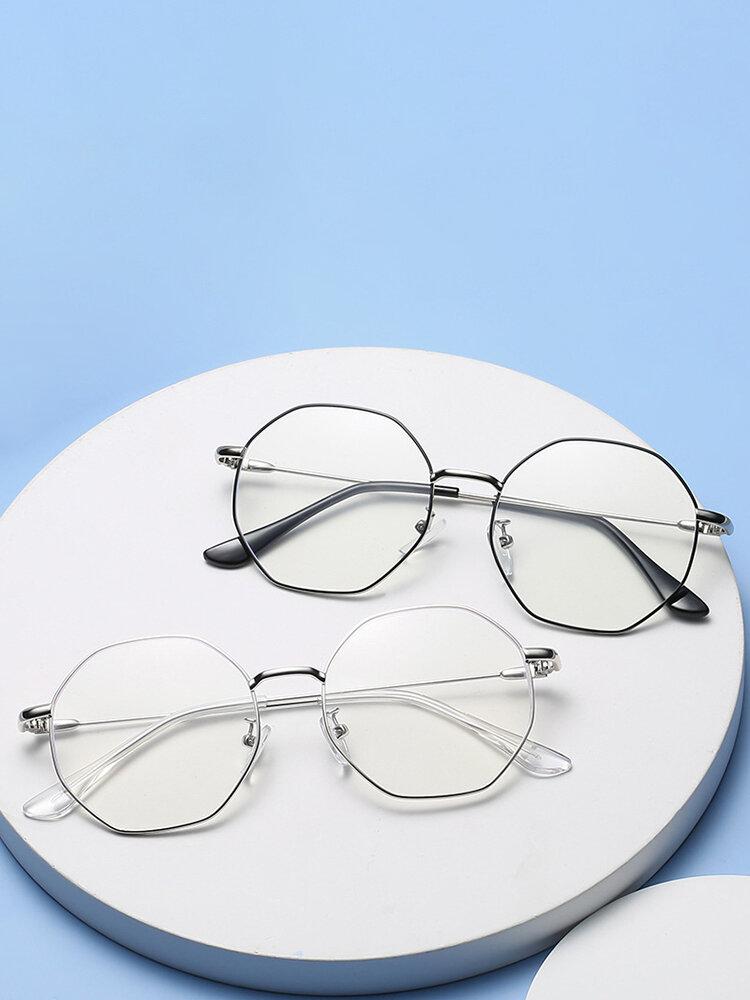Anti-Blue Glasses Men Flat Mirror Octagon Full Frame Women Myopia Eyeglasses Frame