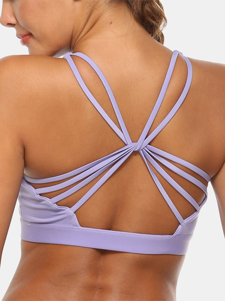 Women Solid Color Stretch Criss-Cross Breathable Sport Yoga Thin Bra