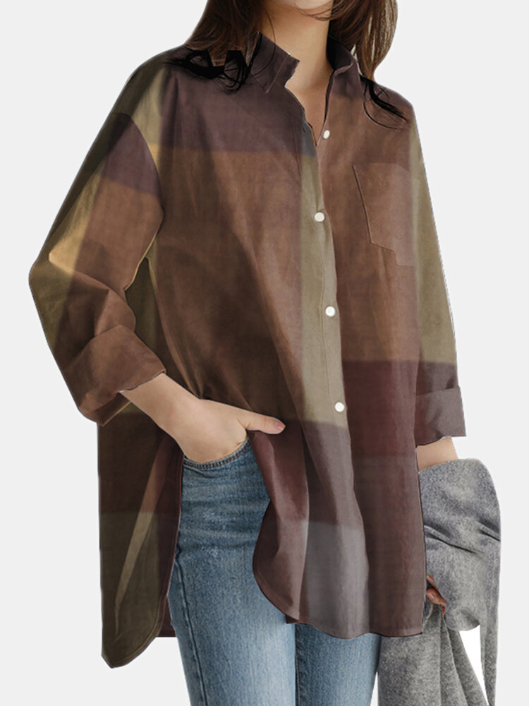 Plaid Print Long Sleeves Casual Loose Blouse With Pockets