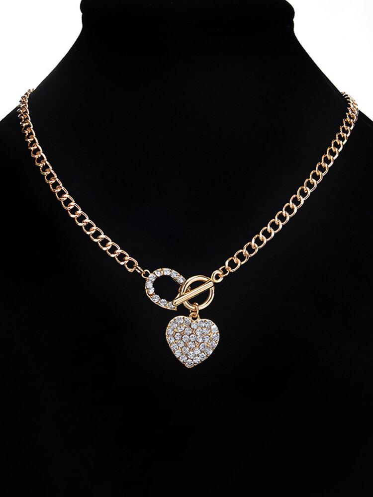 Elegant Pendant Necklace Chain Rhinestone Heart Circular Geometric Charm Necklace Jewelry for Women