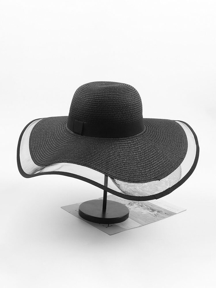 Women Mesh Vogue Sunscreen Bucket Straw Hat Outdoor Casual Travel Beach Sea Hat