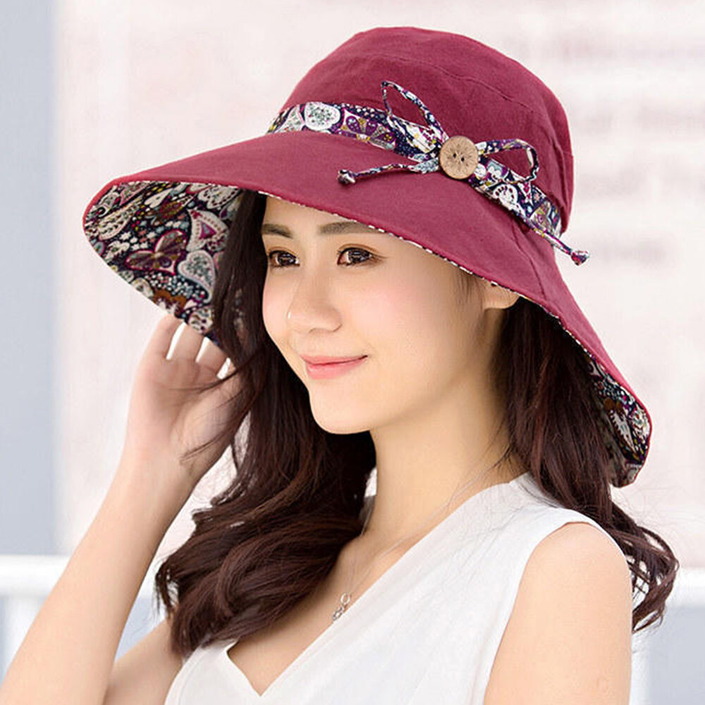 Multipurpose Foldable Anti-UV Cap For Lady Print Beach Sun Hat  Cotton Wide Brim Hat For Women Elegant Summer Hats